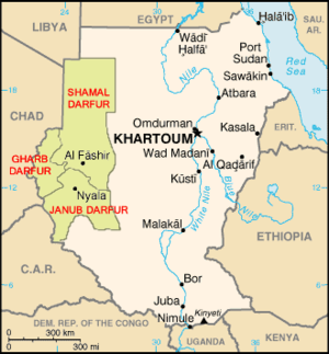 Map of Darfur, Sudan