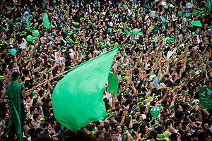 Mousavi supporters in Tehran, during the Irani...